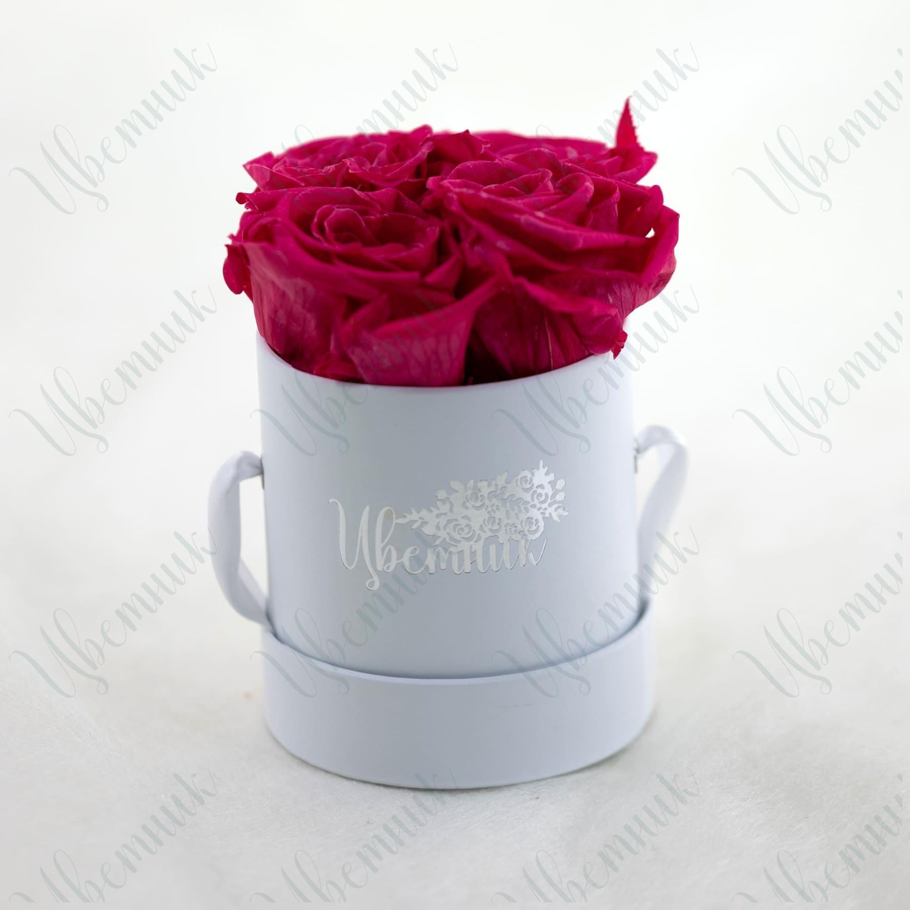 Стабилизированные розовые розы в круглой коробке 4 шт.