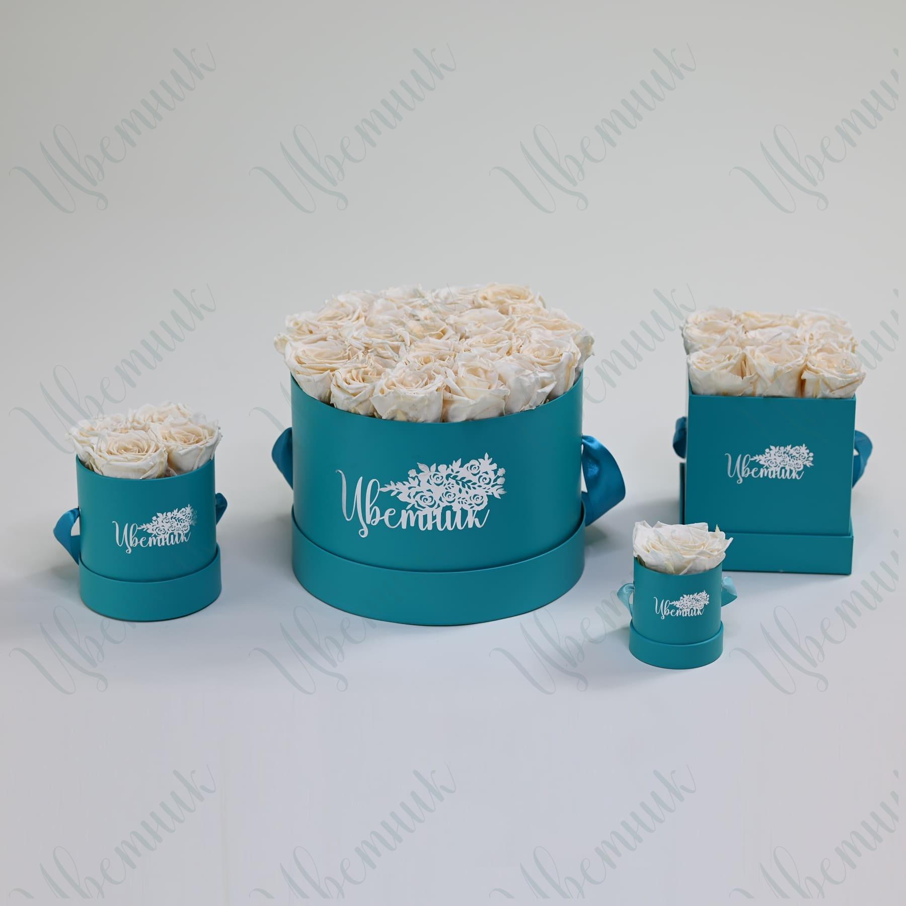 Стабилизированные белые розы в квадратной коробке 9 шт.