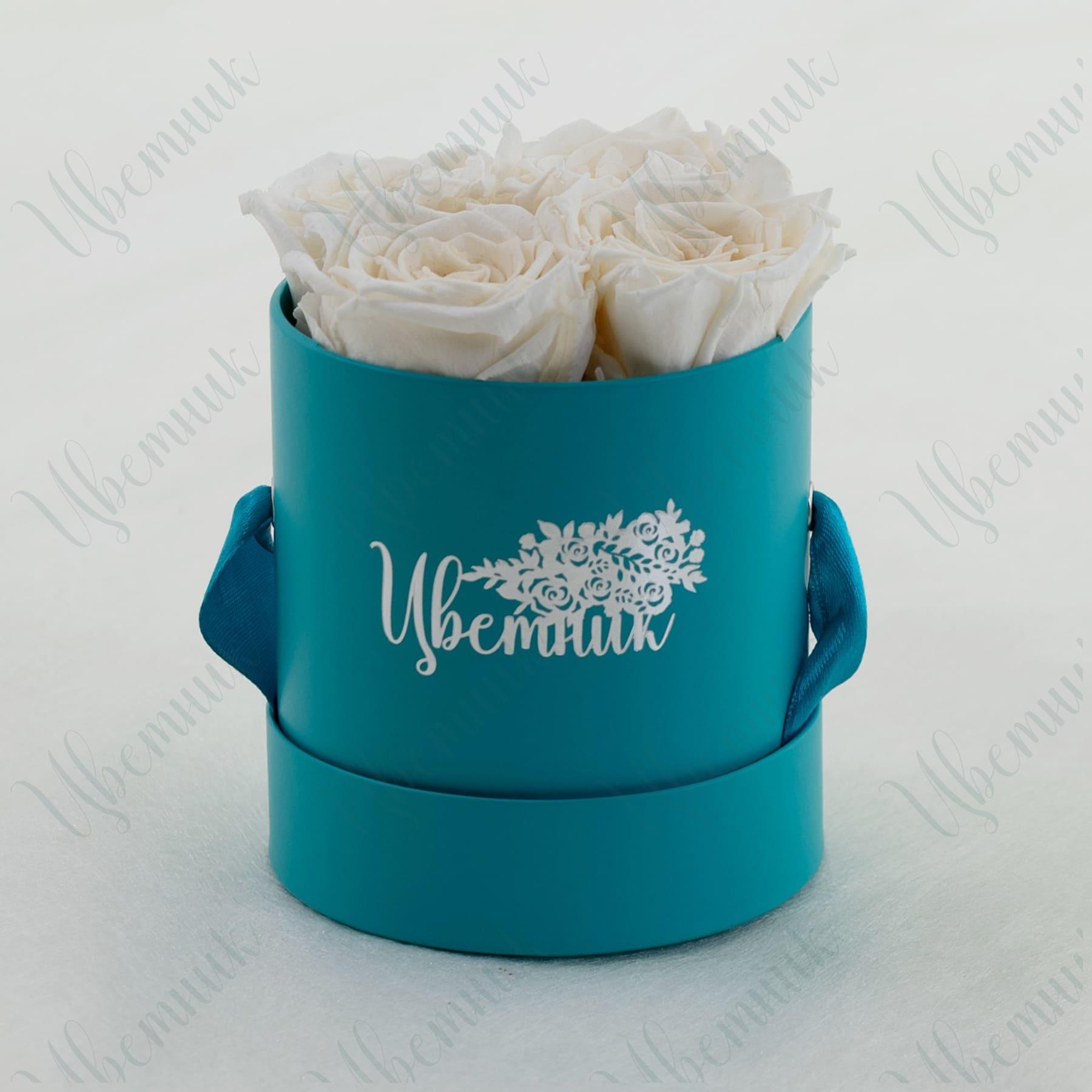Стабилизированные белые розы в круглой коробке 4 шт.