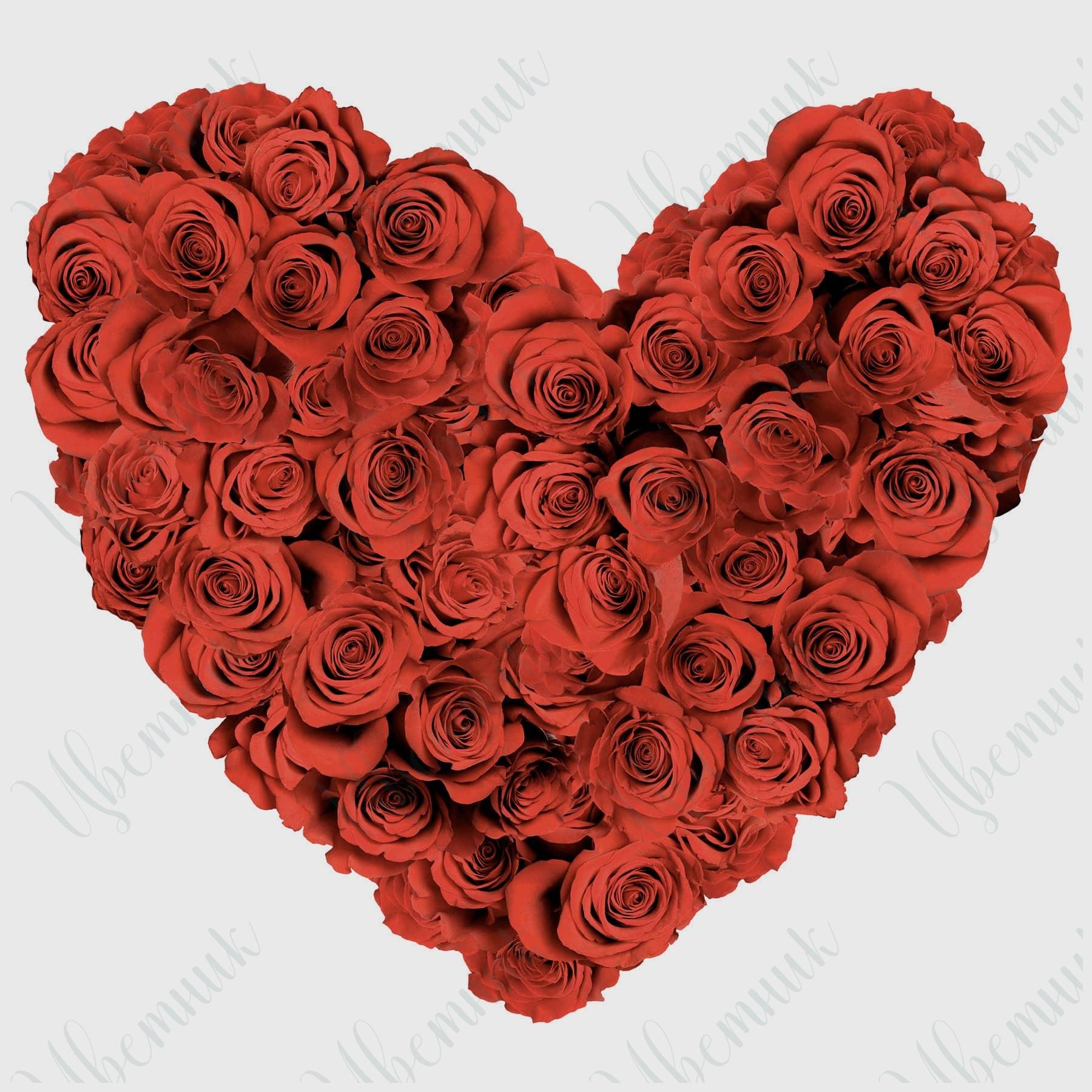 Красное сердце из 51 розы