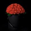 Роскошная шляпная коробка из 51 красной розы, D 30 см