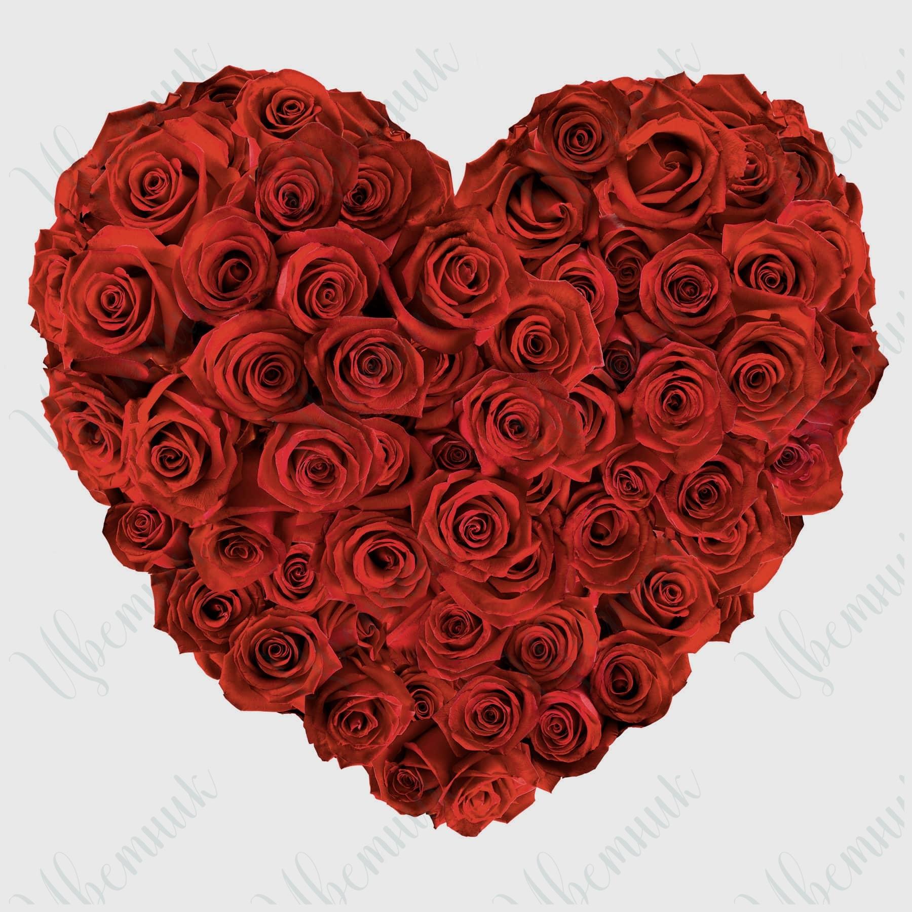 Шикарное сердце из 59 красных роз