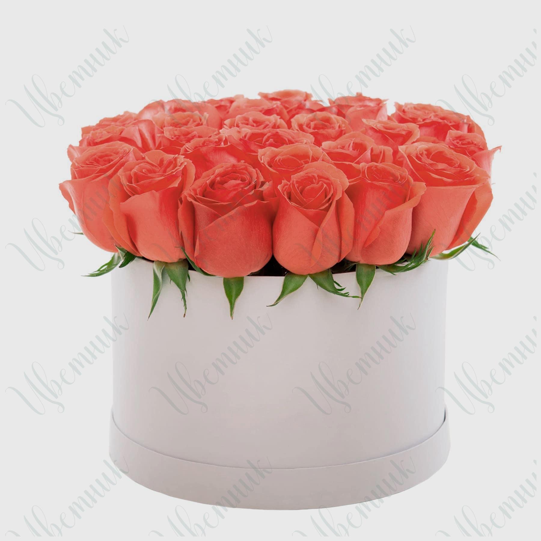 Шляпная коробка с алыми розами
