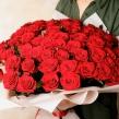 Букет из 101 красной розы высотой 60 см в упаковке