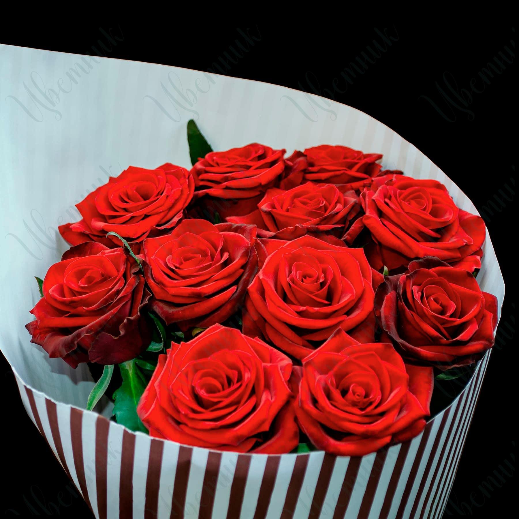 Букет в стильной упаковке из 11 Красных роз