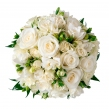 Букет невесты из фрезии, белых роз и зелени