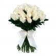 Шикарный букет из 39 белых роз с бантом
