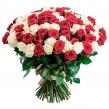 Красно-белый букет из 101 розы, высотой 60 см