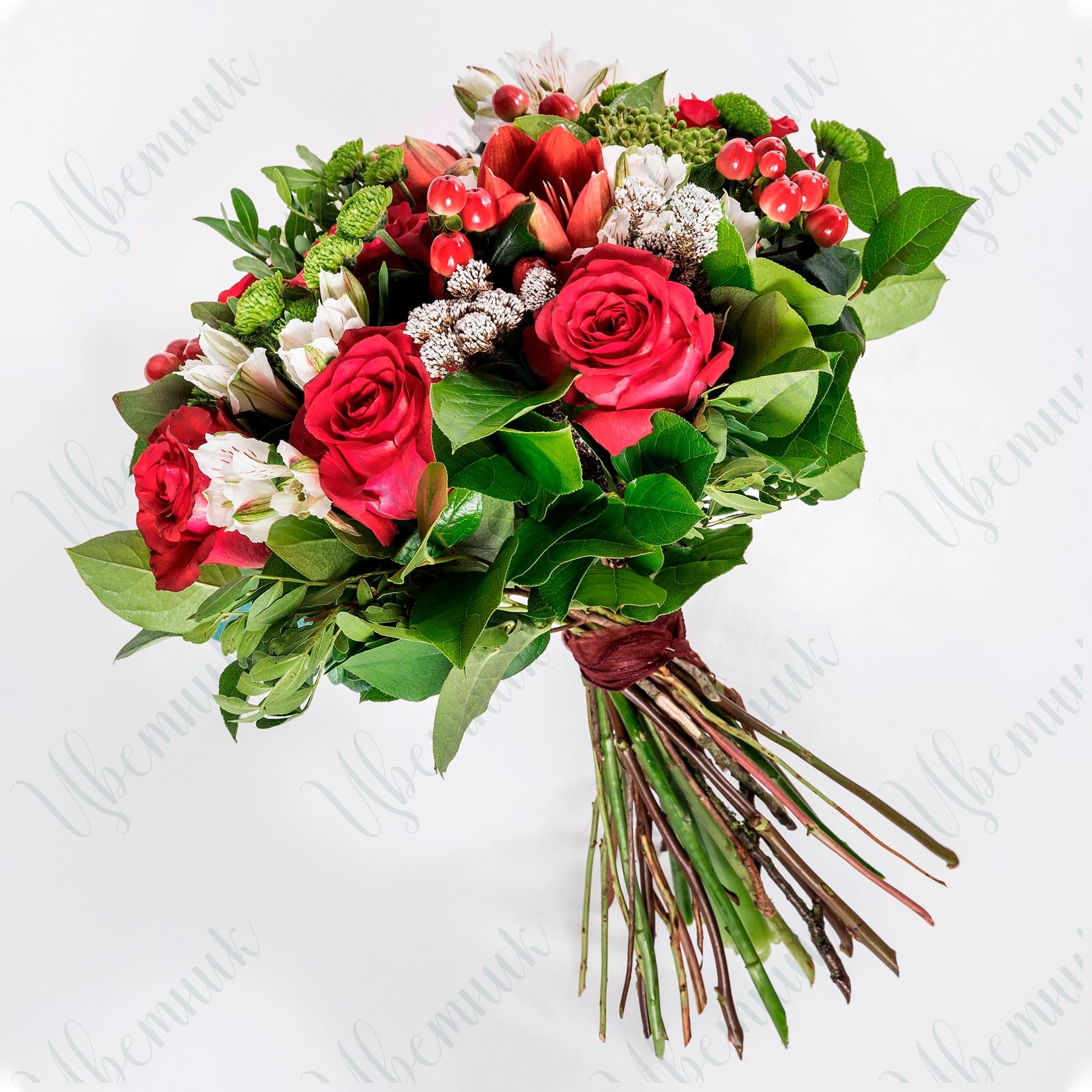 Букет из роз, альстромерии и статицы