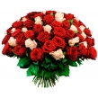 Букет из 101 красной и кремовой розы