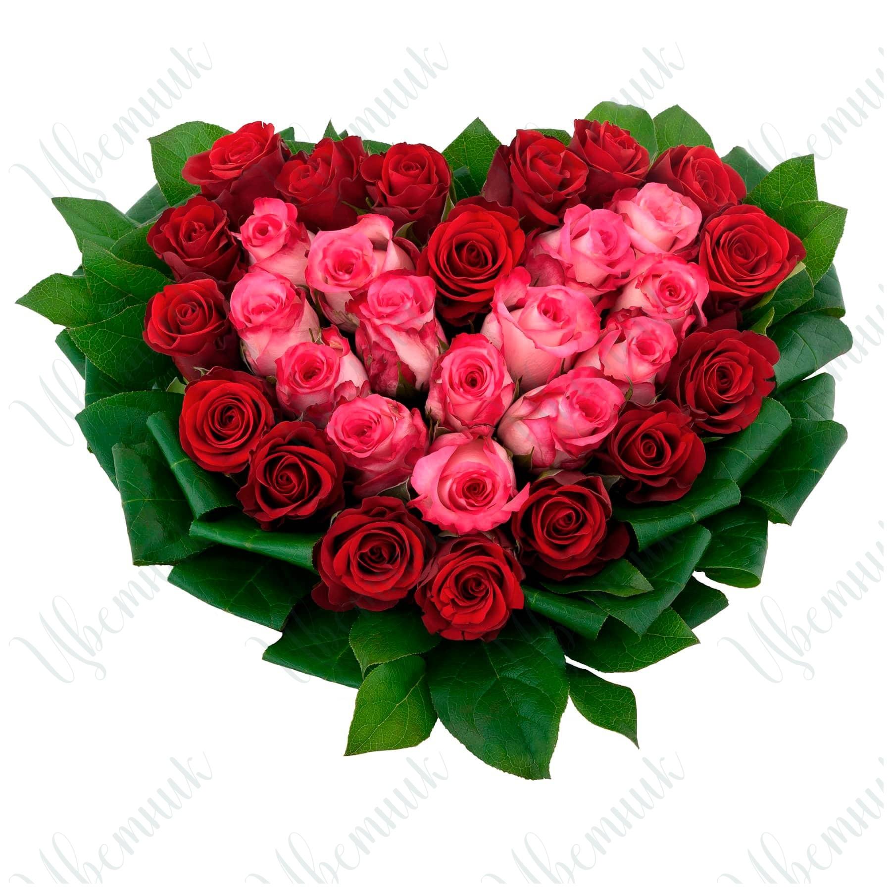 Букет-сердце из красных и розовых роз