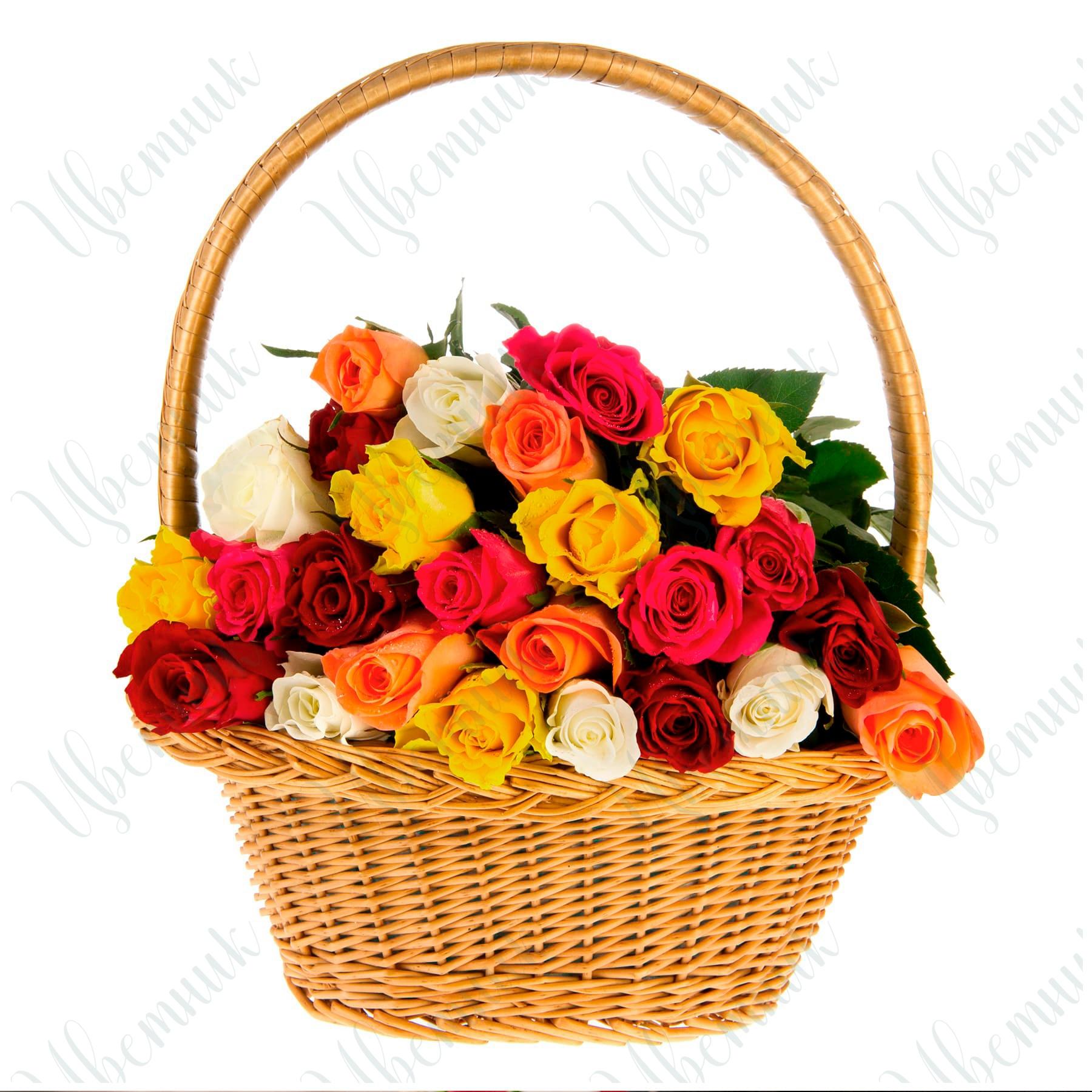 25 роз ассорти в корзинке