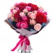 Малиново-розовый букет из микса кустовых и одноголовых роз