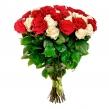 Букет из красных и белых высоких роз под ленту