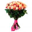 Букет из 51 кремовой и оранжевой розы