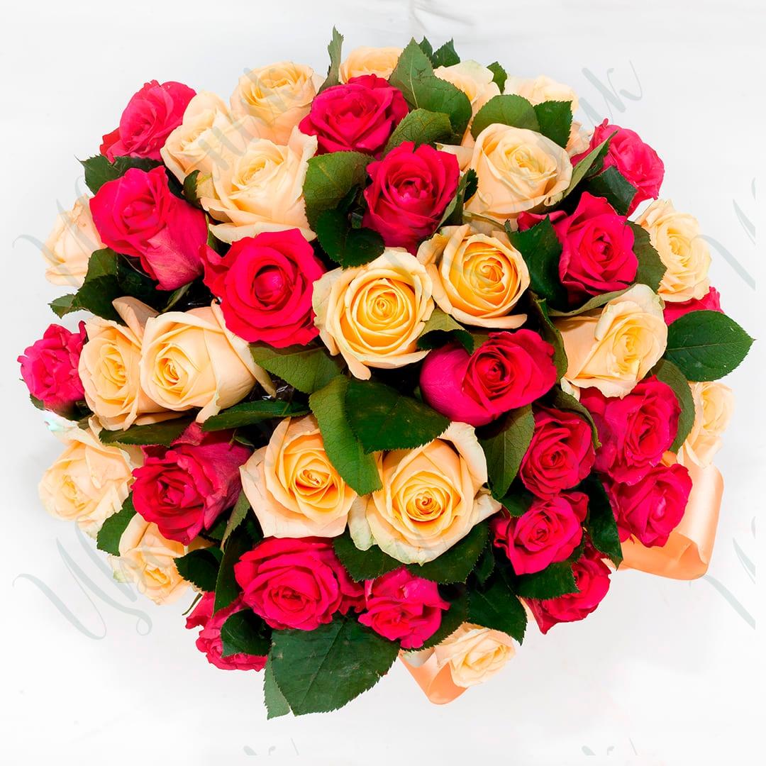 Букет из 39 кремовых и малиновых роз